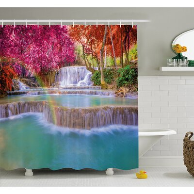 Waterfall Rain Forest in Vietnam Laos with Asian Trees Side of River Image Shower Curtain Set Size: 70 H x 69 W