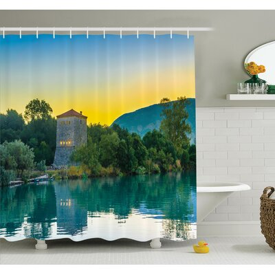 Nature Sunrise at Lake Asian Shower Curtain Set Size: 84 H x 69 W