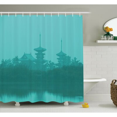 Temple Above Sea Shower Curtain Set Size: 84 H x 69 W