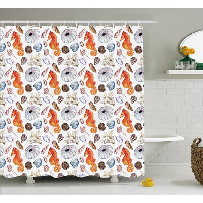 Animal Bunch of Deep Sea Elements with Screw Shell Crabs Urchin Oyster Coral Ammonit Print Shower Curtain Set Size: 70 H x 69 W
