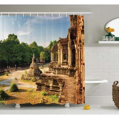 Ancient Temple Shower Curtain Set Size: 75 H x 69 W