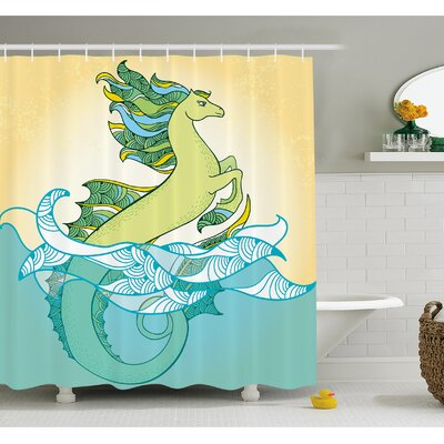 Animal Japanese Mythological Hippocampus Statue Fin in the Water Waves Legendary Art Shower Curtain Set Size: 84 H x 69 W