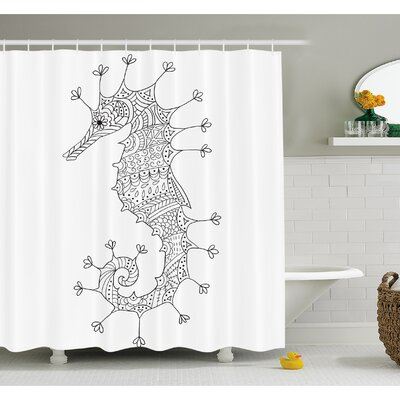 Animal Seahorse Mediterranean Culture Roman Poseidon God Heraldic Magical Artsy Sign Shower Curtain Set Size: 84 H x 69 W
