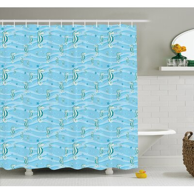Animal Cartoon Seahorses Playroom Nautilus Shower Curtain Set Size: 70 H x 69 W