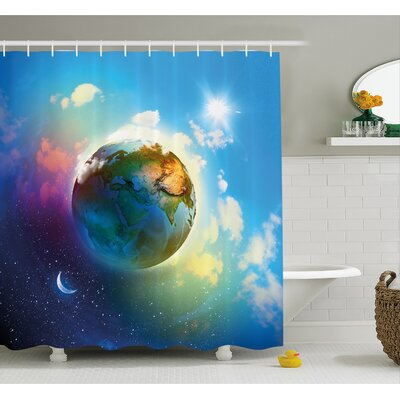 Earth Outer Space Scene in Vibrant Color Enchanted Cosmos Atmosphere Image Shower Curtain Set Size: 84 H x 69 W