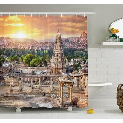 Temple at Sunset Shower Curtain Set Size: 70 H x 69 W