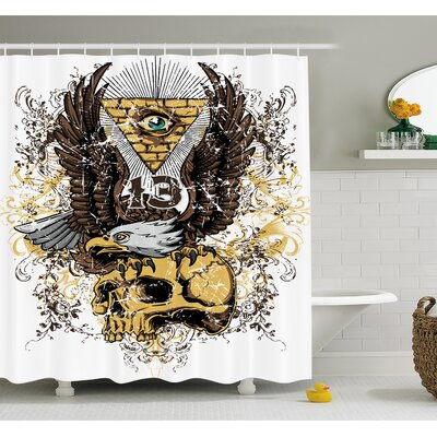 Tattoo American Eagle Wings Wide Open Top of Skull Carrying Brick Wall with Eye Shower Curtain Set Size: 75 H x 69 W