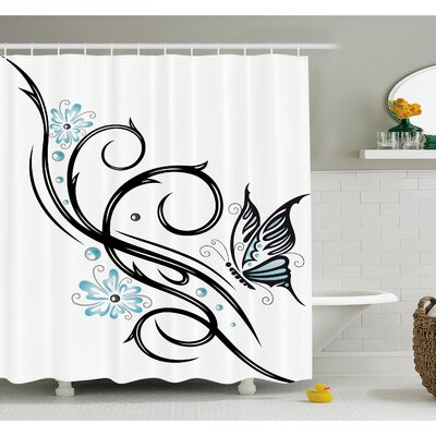 Tattoo Leaf like Design with Flowers and a Flying Butterfly Image Shower Curtain Set Size: 70 H x 69 W