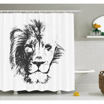 Tattoo The King of the Jungle Pencil Drawing Handmade Majestic Lion Head Image Shower Curtain Set Size: 75 H x 69 W