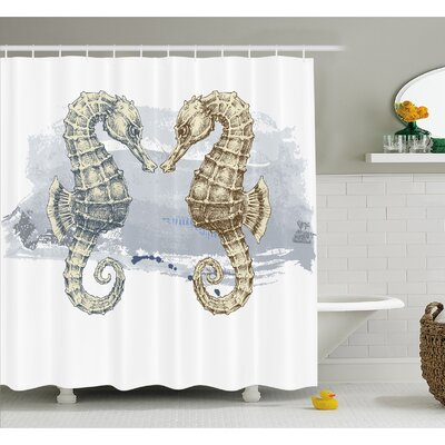 Animal Seahorse Lovers in Paintbrush Artisan Technique Grunge Splash on Background Shower Curtain Set Size: 70 H x 69 W