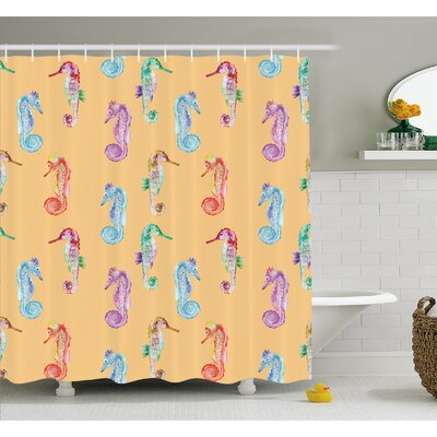 Animal Pop Art Peach Effect Display of Hippocampus in Vivid Ocean Depth Image Shower Curtain Set Size: 75 H x 69 W