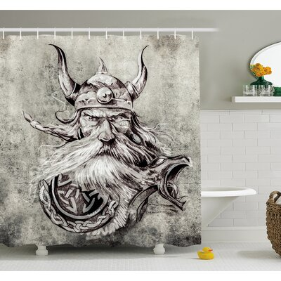 Tattoo Artistic Pencil Drawing of a Brave Viking Warrior with his Armour Image Shower Curtain Set Size: 75