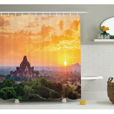 Ancient Temple Sunset Shower Curtain Set Size: 84 H x 69 W