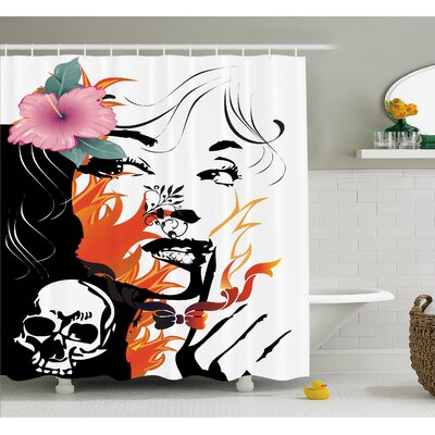 Tattoo Attractive Flower in her Hair near a Skull Shower Curtain Set Size: 75 H x 69 W