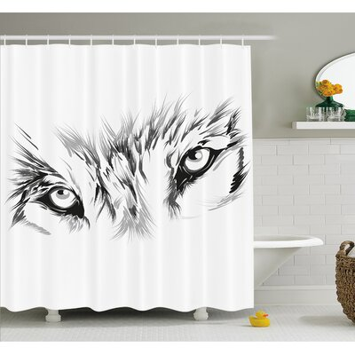 Tattoo Winter Time Wolf with its Eyes Looking Straight and Fierce Shower Curtain Set Size: 75 H x 69 W