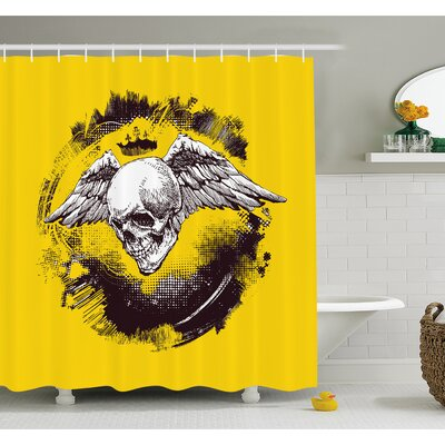 Tattoo The Death Angel Crowned Skull with Wide Magnificent Feather Wings Shower Curtain Set Size: 84 H x 69 W