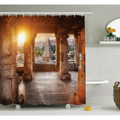 Indian Temple Shower Curtain Set Size: 70 H x 69 W