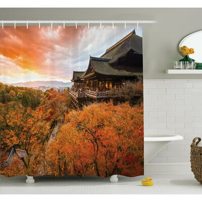 Rick Temple in Fall Shower Curtain Set Size: 75 H x 69 W