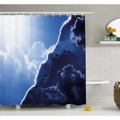 Composite of Dark and Lightness Theme in Diverse Tones of Skyline Weather Shower Curtain Set Size: 75 H x 69 W