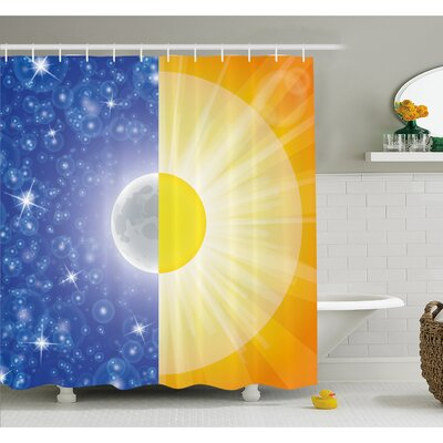 Split Design with Stars in the Sky and Sun Beams Light Solar Balance Image Shower Curtain Set Size: 75 H x 69 W