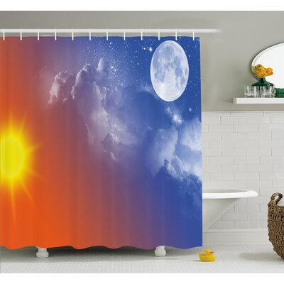 Full Moon Sun Clouds Cycle of the Galaxy Sacred Movement Macrocosm Print Shower Curtain Set Size: 84 H x 69 W