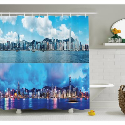 Times of Hong Kong City Morning and Evening Urban Downtown Scene Art Shower Curtain Set Size: 75 H x 69 W