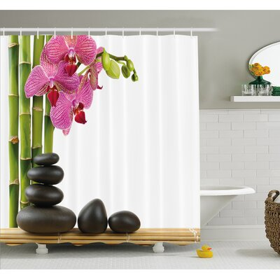 Spa Beautiful Orchid with Bamboos and Hot Stone Massage Image Shower Curtain Set Size: 75 H x 69 W