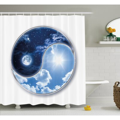 Yin Yang Icon Shaped World with Moon and Sun Figures Harmony of the Universe Shower Curtain Set Size: 75 H x 69 W