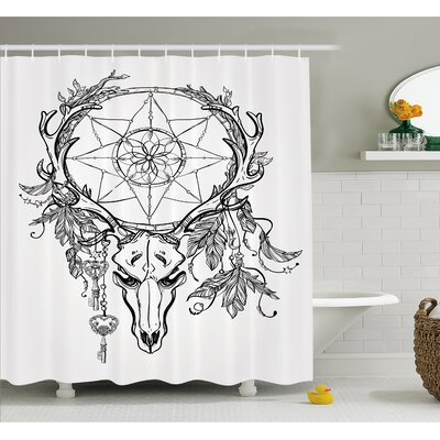 Tattoo Deer Skull with Feathers on its Antlers Holding a Star Shower Curtain Set Size: 70 H x 69 W