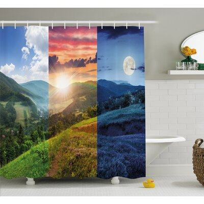 Foggy Mountain Forest View in Various Times of the Day Idyllic Nature Collage Shower Curtain Set Size: 84 H x 69 W