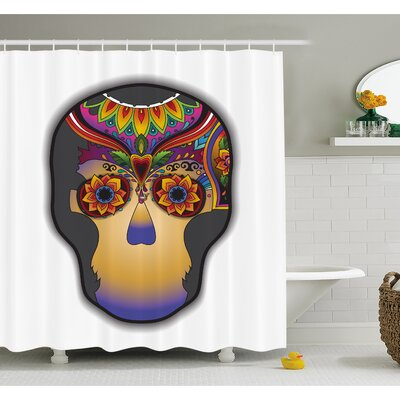 Tattoo Hippie Happy Dead Flower Skull with its Colorful Design Shower Curtain Set Size: 70 H x 69 W