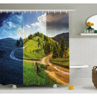 Collage of Three Autumn Scenes on Cross Road Hillside Meadow in Mountain Range Shower Curtain Set Size: 70 H x 69 W