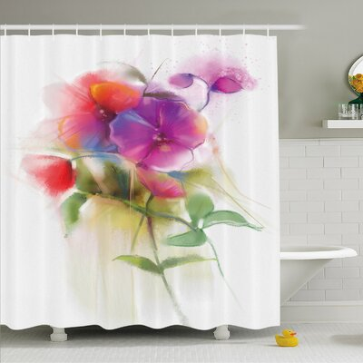Watercolor Flower Home Blooming Orchid Spring Bouquet Romance Natural Beauty Fragrance Shower Curtain Set Size: 75 H x 69 W