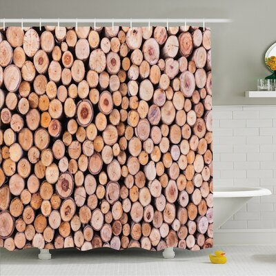 Rustic Home Mass of Wood Log Forest Tree Industry Group of Cut Lumber Circle Stack Image Shower Curtain Set Size: 70 H x 69 W
