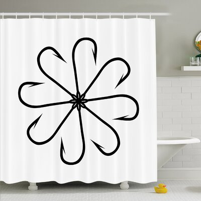 Flower Shaped Artisan Steel Multi Hook Gaff in Row New Needle Device Figure Shower Curtain Set Size: 70 H x 69 W