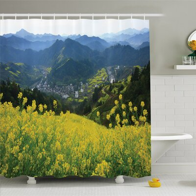 Farm House Flower Meadow over the Village Mountains in a Row Grass Fresh Field Shower Curtain Set Size: 70