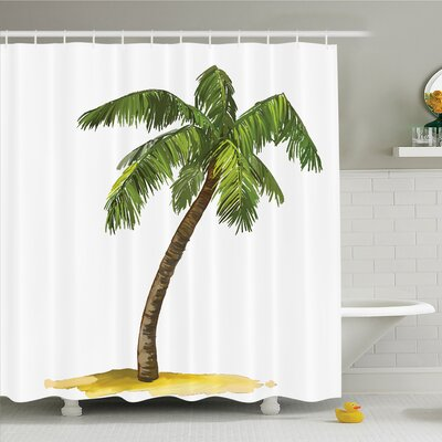 Palm Tree Cartoon Palms Image Tropical Plant and Sand Serenity Nature Foliage Print Shower Curtain Set Size: 70 H x 69 W