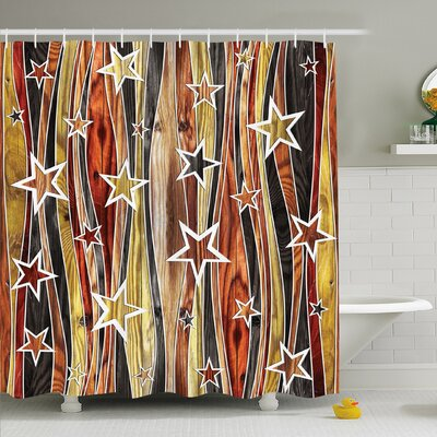 Rustic Home Vertical Striped Vibrating Decorative Timber Design with Various Star Figures Shower Curtain Set Size: 75 H x 69 W