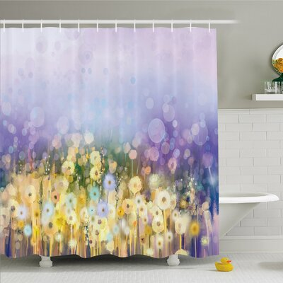 Watercolor Flower Home Chamomile and Dandelion Field Meadow Landscape Idyllic View Shower Curtain Set Size: 70 H x 69 W