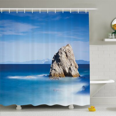 Scenery House Big Formless Rock Italian Sea and Sky European Secret Paradise Art Shower Curtain Set Size: 70 H x 69 W