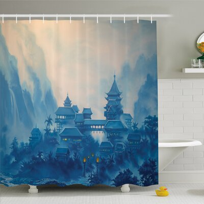 Farm House Chinese Temple Paint Mist with Lanterns at Night Artsy Oriental Religious Image Shower Curtain Set Size: 84