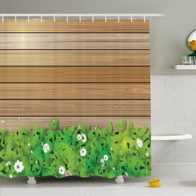 Watercolor Flower Home Daisy Leafs and Water Droplets Wood Fence Spring Nature Theme Shower Curtain Set Size: 75 H x 69 W