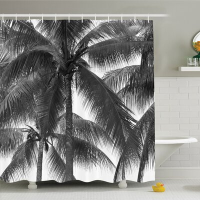 Palm Tree Silhouette Exotic Plant on Thema Foliages Relax in Nature Image Shower Curtain Set Size: 84 H x 69 W