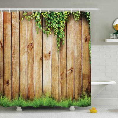 Rustic Home Fresh Spring Grass and Leaf Plant over Old Wood Fence Garden Field Photo Shower Curtain Set Size: 70 H x 69 W