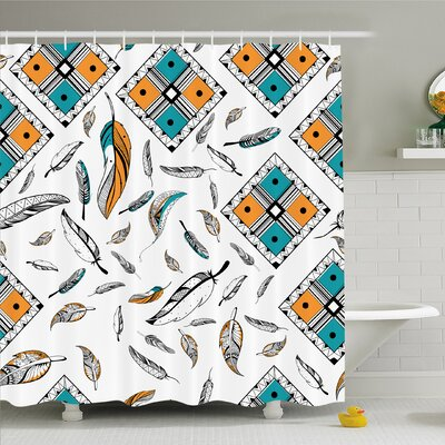 Tribal Bohemian Feather Patterns with Geometric Square Vintage Motifs Shower Curtain Set Size: 75 H x 69 W