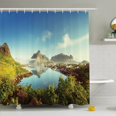 Nash Reine Creek in Norway in a Sunny Fall Day Tranquil Peaceful Vacation Image Shower Curtain Set Size: 84 H x 69 W