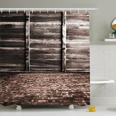 Rustic Home Aged Cracked Striped Oak Boarded Plank Wall Back and Dated Brick Floor Picture Shower Curtain Set Size: 70 H x 69 W