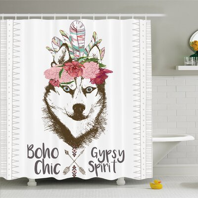 Aztec Floral Head Portrait of Siberian Husky Dog Tribal Arrow Kitsch Image Shower Curtain Set Size: 84 H x 69 W