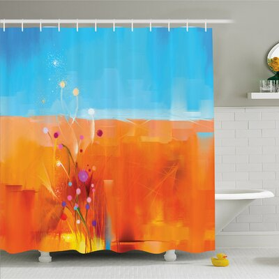 Watercolor Flower Home Meadows under Blue Sky Natural Beauty Floral Illustration Shower Curtain Set Size: 70 H x 69 W