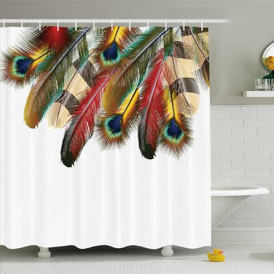 Mystical Esoteric Peacock Feathers Deep Universal Link Icons Boho Theme Shower Curtain Set Size: 75 H x 69 W